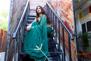Bottle Green Chiffon Saree - Aprudha