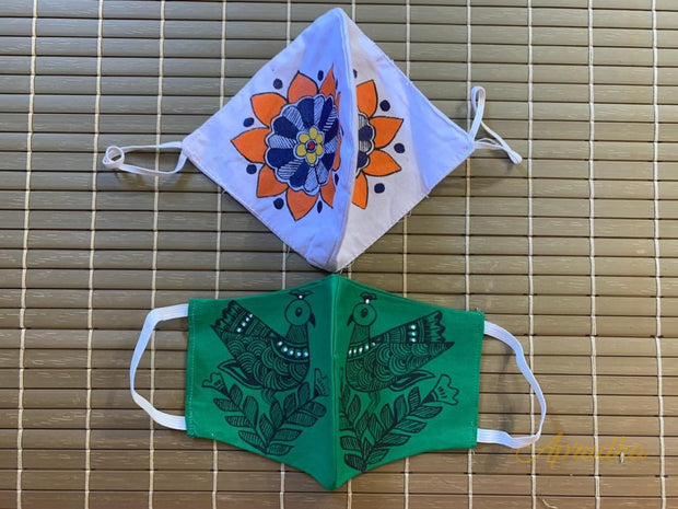 Set Of Two Non Surgical Pure Khadi Madhubani Handpainted Mask - White & Green Colour