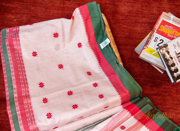 Classic White Adorned Cotton Saree