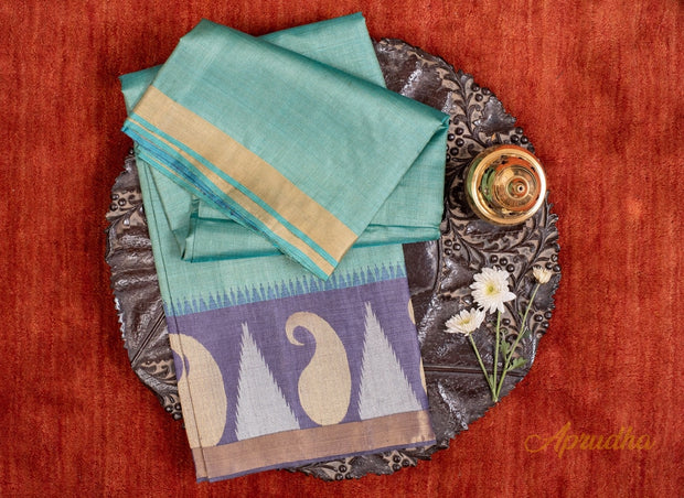 Cadet Blue Kosa Pattu Saree