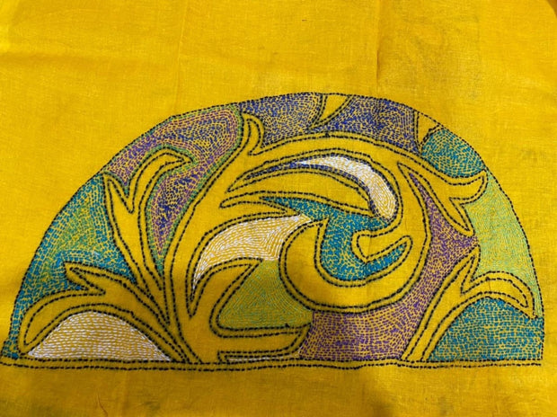 Yellow Kantha Embroidered Blouse Piece
