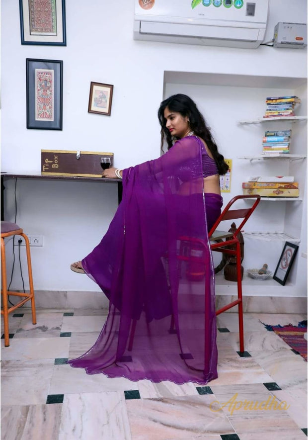 Grape Purple Chiffon Saree