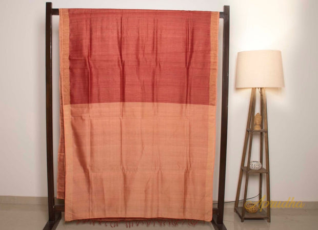 Sienna Orange Tussar Silk Sarees