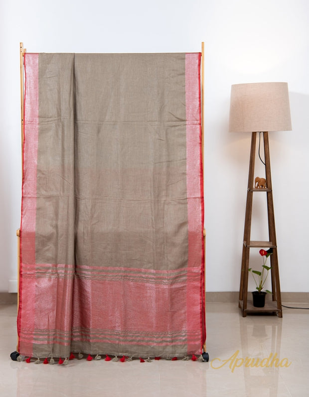 Etherea Brown Linen Saree - Aprudha