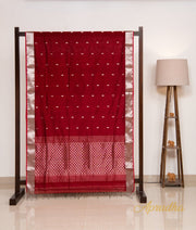 Red & Silver Silk Cotton Saree