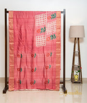 Rouge Pink Hand Printed Silk Saree
