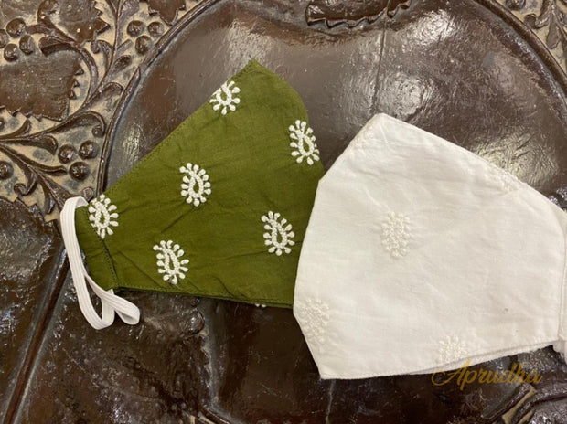 Green & White - Set Of Two Non Surgical Cotton Chikankari Mask