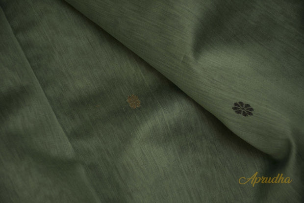 Cadmium Green Tussar Silk Saree