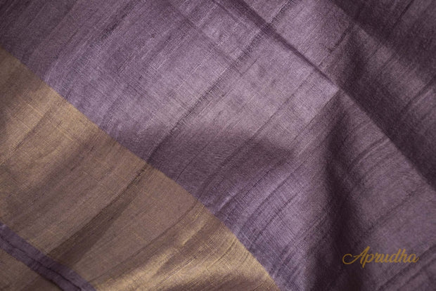 Grapeade Purple Tussar Silk Saree