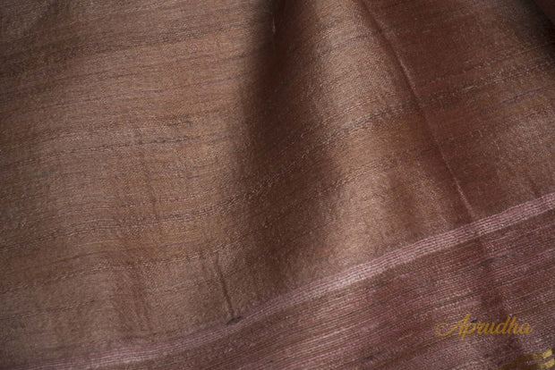 Mocha Mousse Brown Tussar Silk Saree