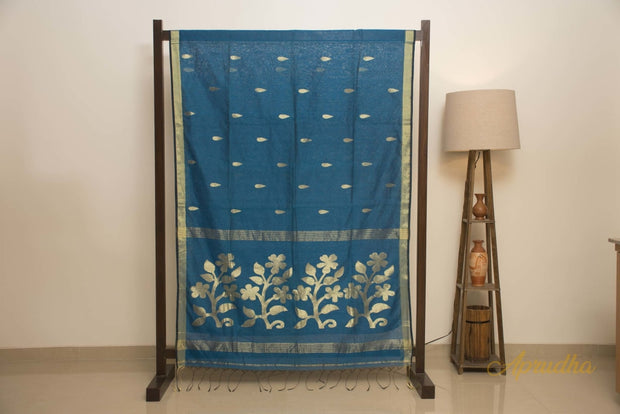 Deep Teal Blue Pure Muslin Silk Jamdani Saree - Aprudha