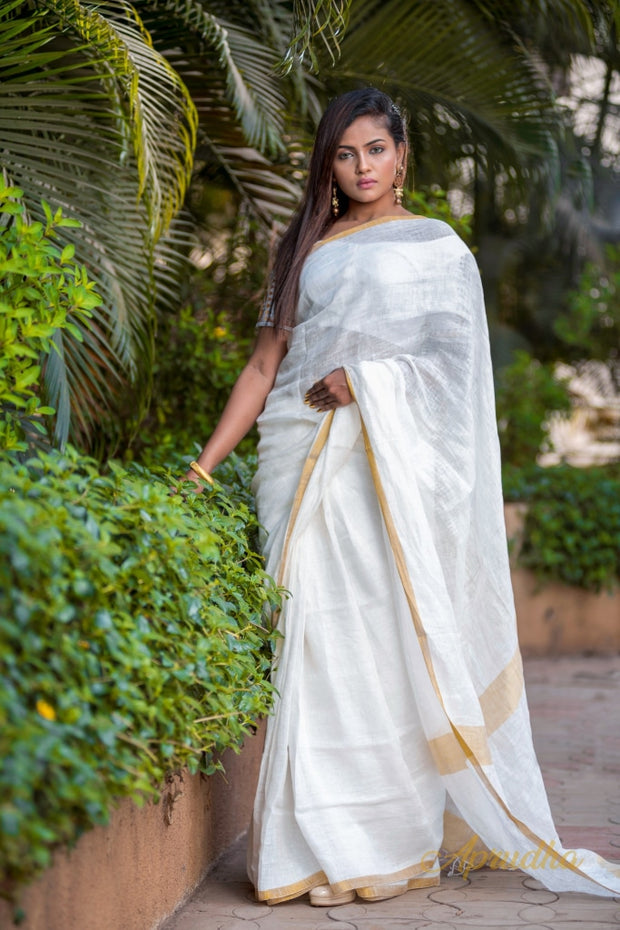 Daisy White Linen Saree