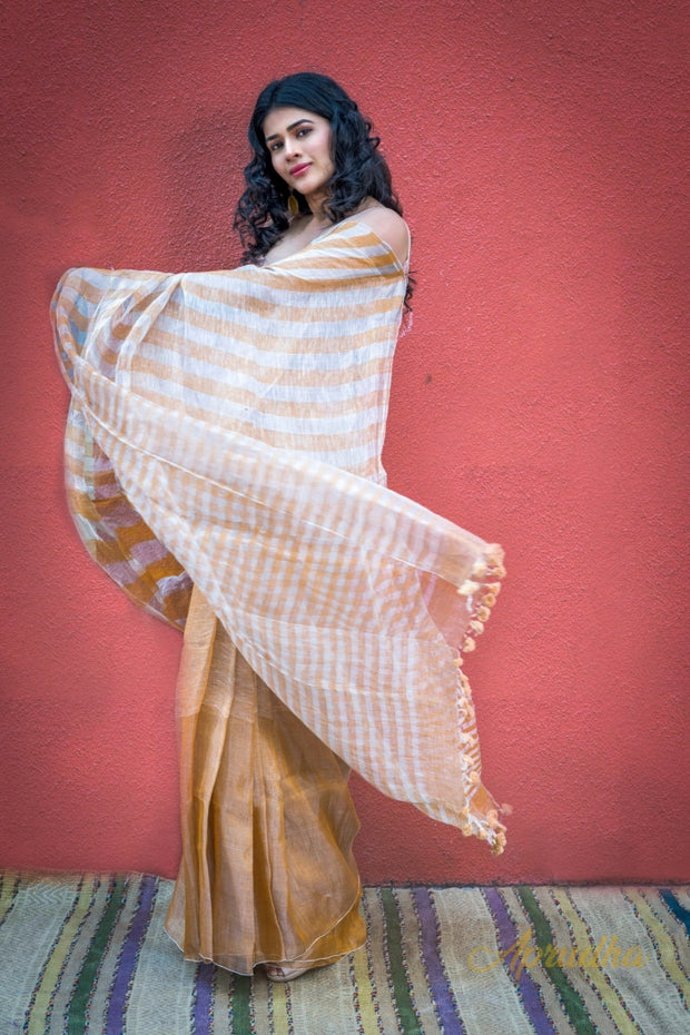 Bronze Stripes Linen Silk Saree - Aprudha