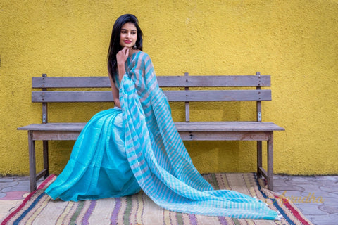 Sky Blue Linen Silk Sarees In Stripes