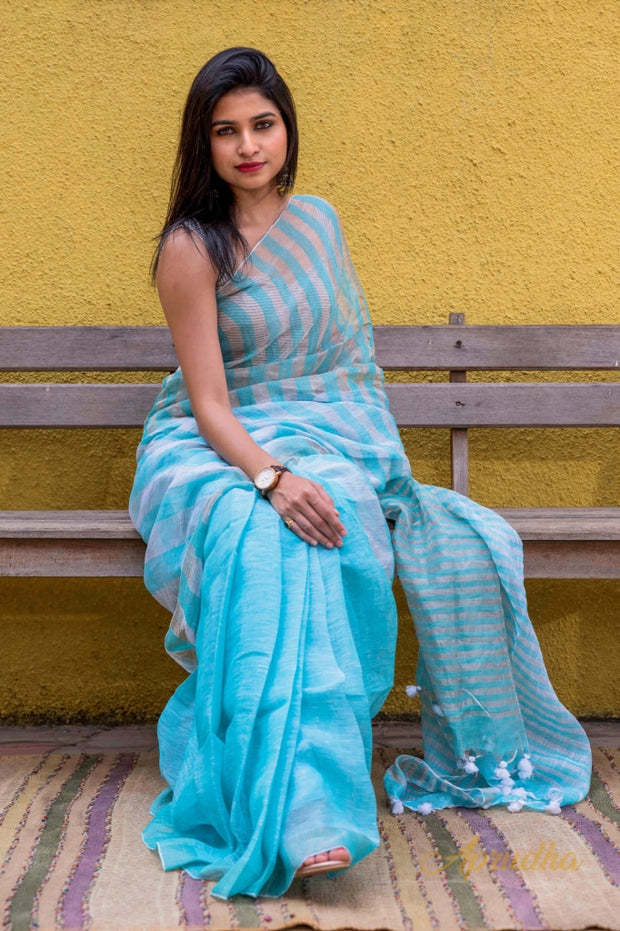 Sky Blue Linen Silk Sarees In Stripes - Aprudha