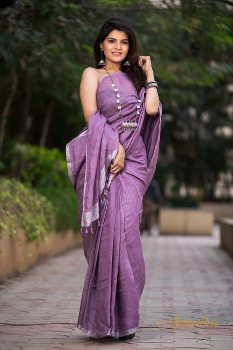 Mauve Purple Linen Saree