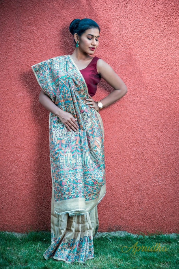 Tussar Silk Saree With Madhubani Paint
