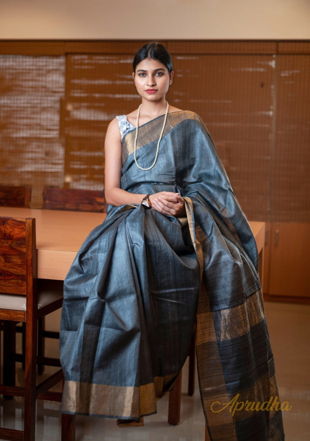 Slate Grey Kosa Silk Saree