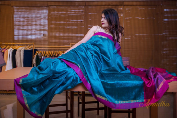 Lustrous Teal Green  Silk Saree