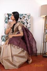 Beige And Maroon Combination Silk Saree
