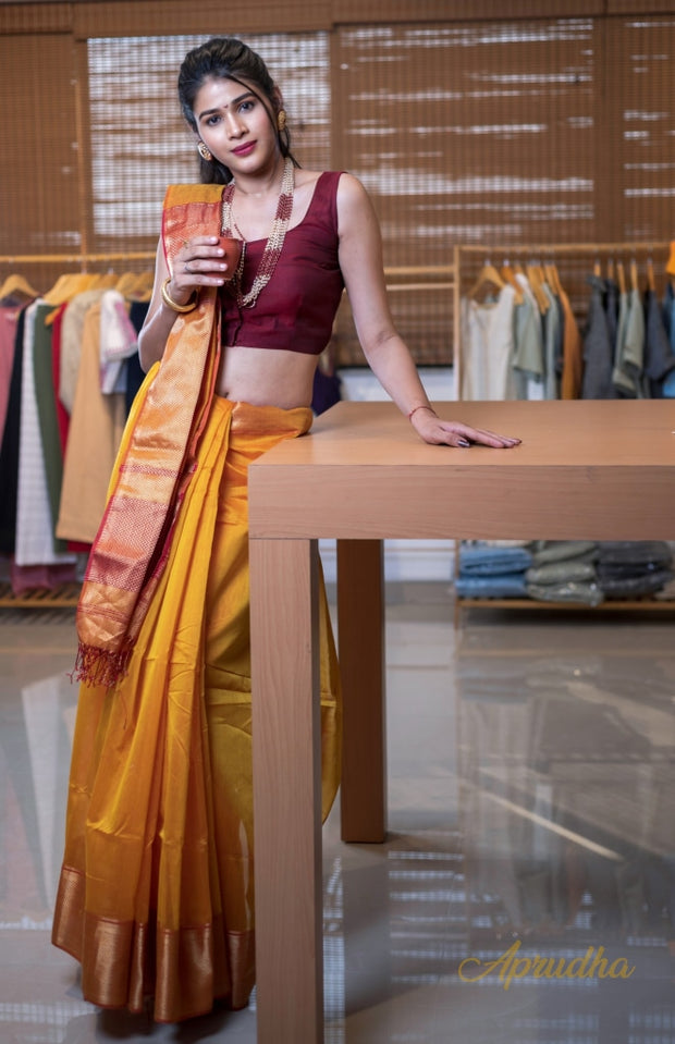 Turmeric Yellow Silk Cotton Saree