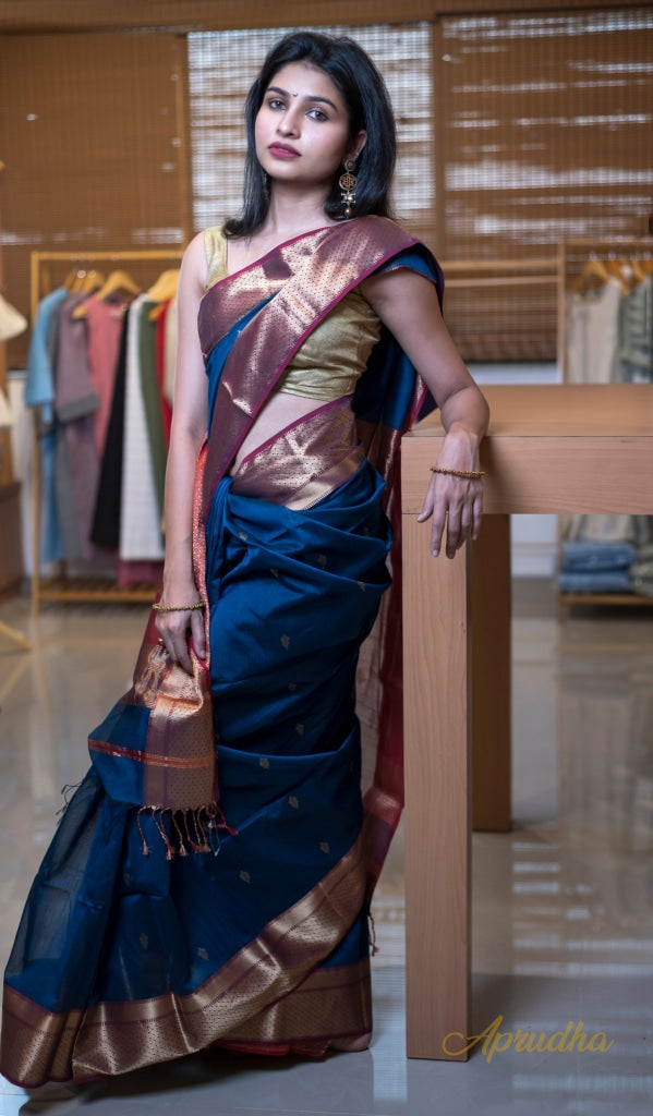 Peacock Blue Silk Cotton Saree