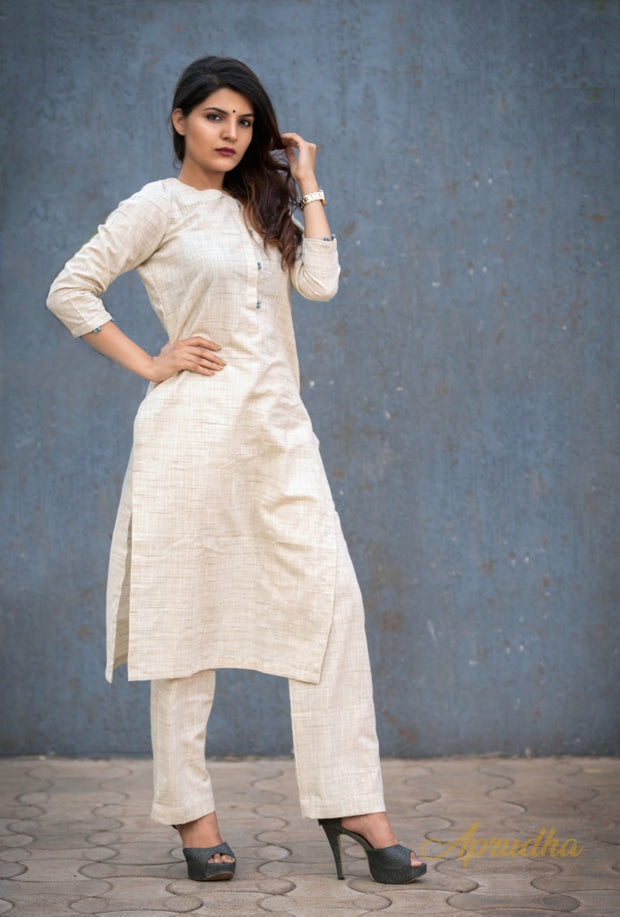 Khadi Cotton Kurti Pant set