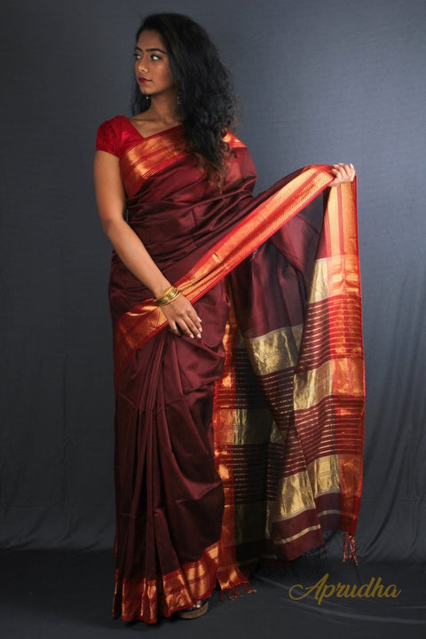 Rosewood Red Bordered Silk Saree