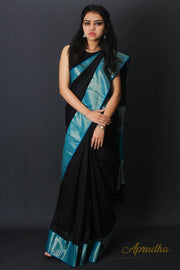 Black Blue Silk Saree
