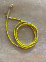 Set Of Two - Yellow & White Mask Necklace - Aprudha