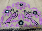 Beige & Pink Herringbone Mirror Kantha Embroidered Blouse Piece