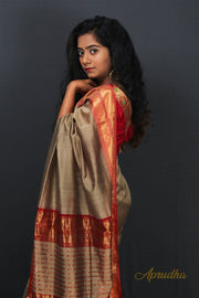 Light brown and Red Silk Saree