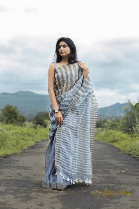 Hyena Textured Tissue Linen Saree