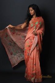 Orange Digital Linen Saree