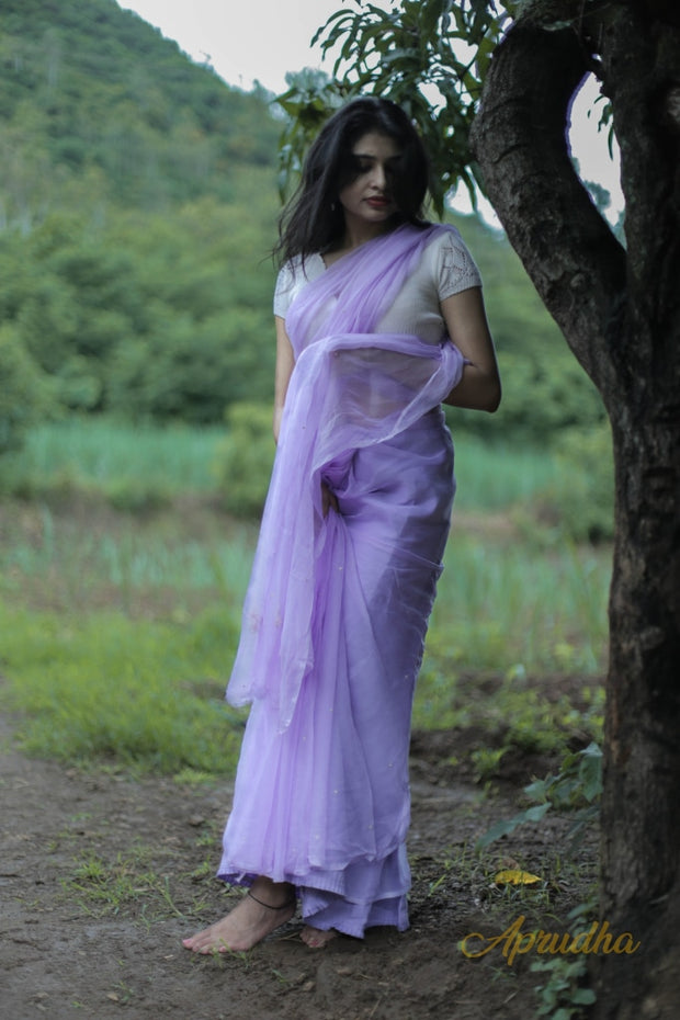 Orchid Purple Chiffon Saree