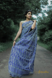Grey And Blue Dhakai Jamdani Saree - Aprudha