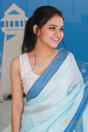 Powder Blue Linen Saree