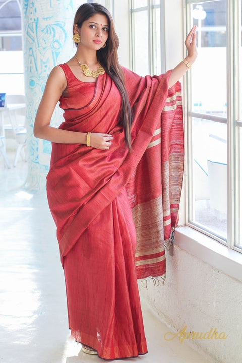 Red Silk Saree with golden finish