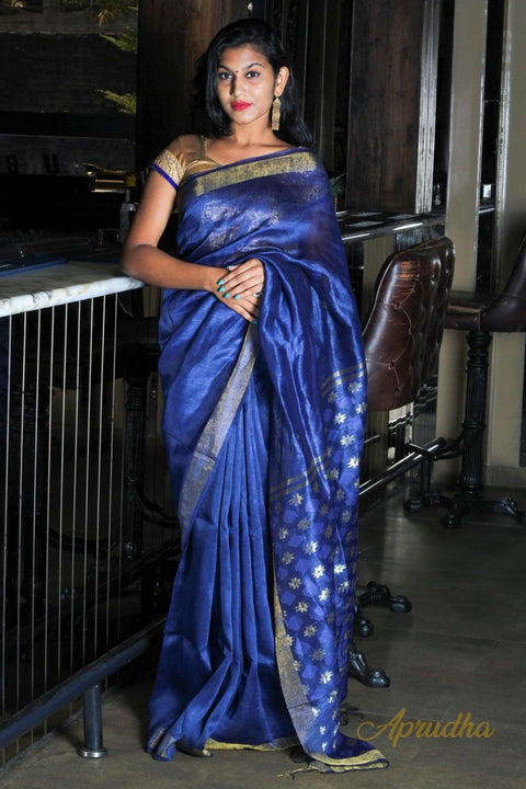 Royal Blue Linen Silk Saree