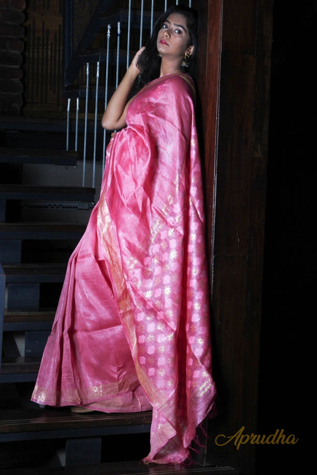 Bubblegum Pink Linen Silk Saree