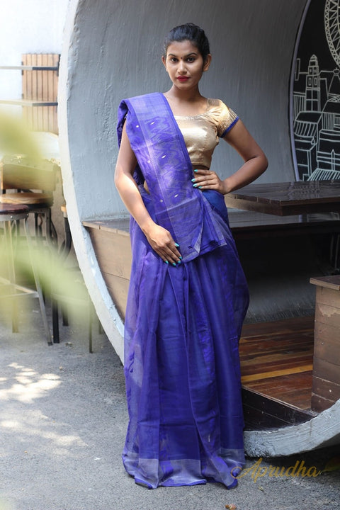 Navy Blue Jamdani Saree