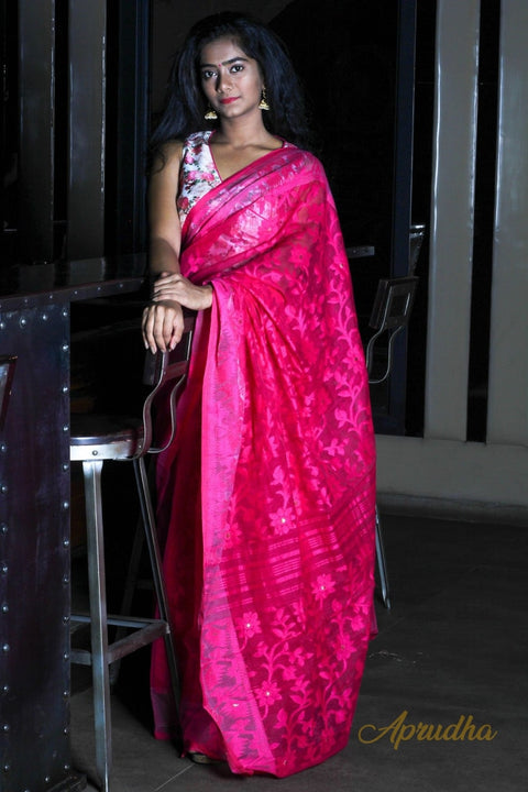 Hot Pink Jamdani Saree