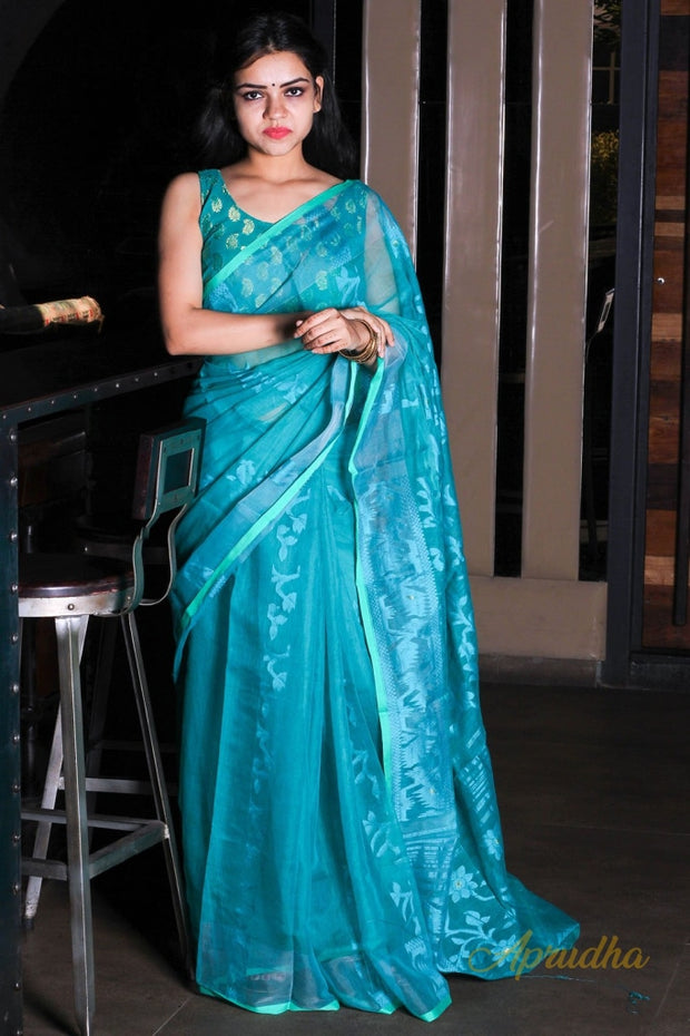 Sea Green Jamdani Saree