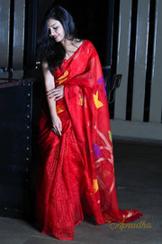 Red Jamdani Madhulata Saree