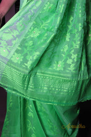 Parrot Green Jamdani Saree