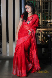 Apple Red Jamdani Saree