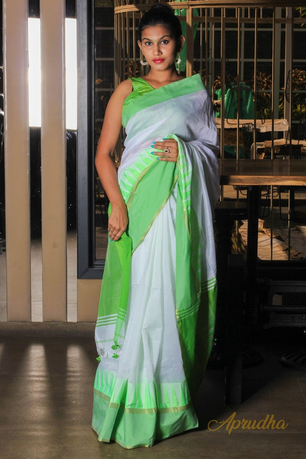 White And Green Cotton Saree
