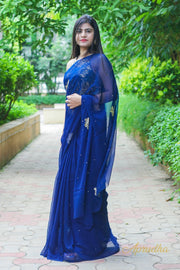 Berry Blue Chiffon Saree
