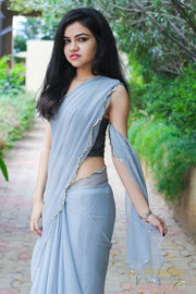 Pearl River Grey Chiffon Saree