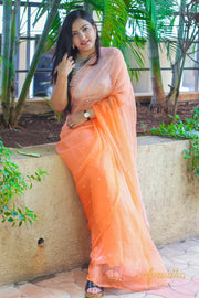 Tangerine And Melon Combination Chiffon Saree